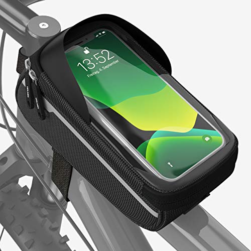 Velmia Fahrrad Rahmentasche [Wasserdicht] - Fahrrad Handyhalterung ideal fürs Navi - Fahrradtasche Rahmen mit/ohne Fingerabdrucksensor-Unterstützung für simples Entsperren während der Fahrt