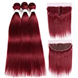 X-TRESS 3 Bundles with Frontal 100% Human Hair Straight Bundles with Middle Part Lace Frontal Burgundy Red Bundles for Black Women(10 12 14+8 Inch)…