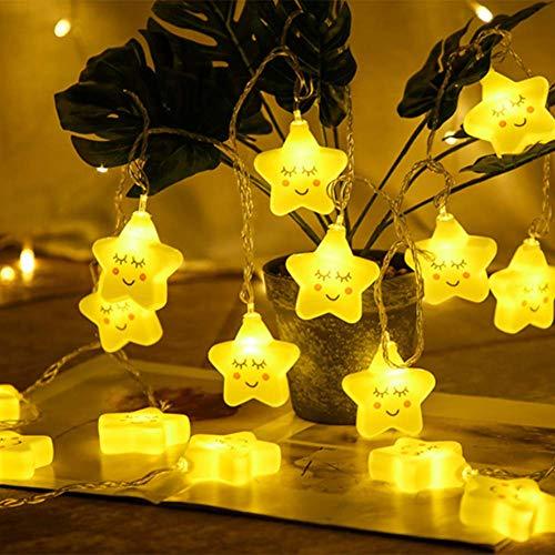 Kinderkamer Leuke LED-lampen, lichtsnoeren, sterrenlichten, batterij-aangedreven lichtsnoer decoraties voor gordijnen vensterbanken katoen slaapkamer tuin campers