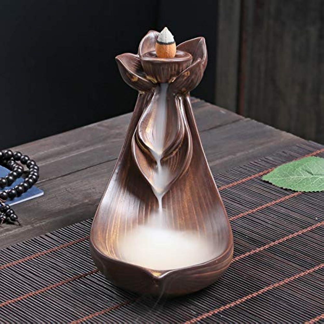 祝う例示する歌手PHILOGOD 陶器香炉 ロータススタイリング逆流香炉 倒流香 お香 ホルダー 香立て (Small Lotus)