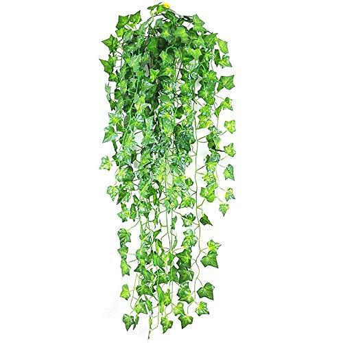 2.1m Decoración para el hogar Plantas Artificiales Colgando Hiedra Hiedra Guirnalda Plantas Follaje Falso Flores Enredadera Verde Ivy Guirnalda para Decoración