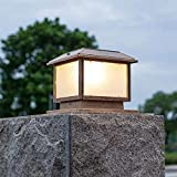Living Equipment Traditional Victorian Outdoor Garden Solar Post Lamp Sensor Light In Bronze Finish Gate Porch LED Lantern Bollard Pathway Square Column Pillar Lamp Decor Deck Yard