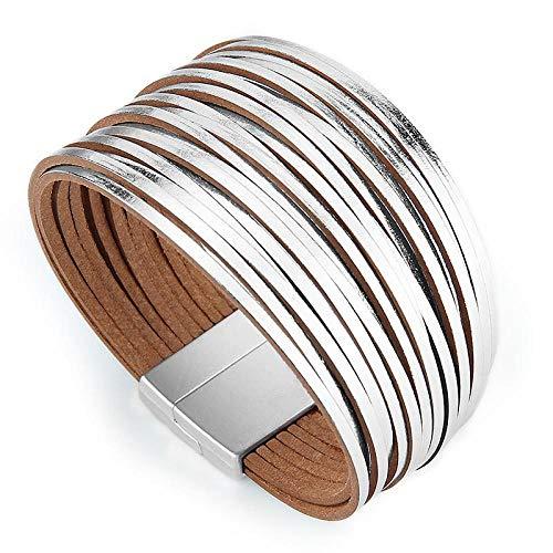 NA Armband SchmuckMode Multilayer Wickel Leder Armbänder Für Frauen Magnetverschlüsse Frauen Armband Armband Armreif Schmuck Geschenke Pulseras Mujer SIL