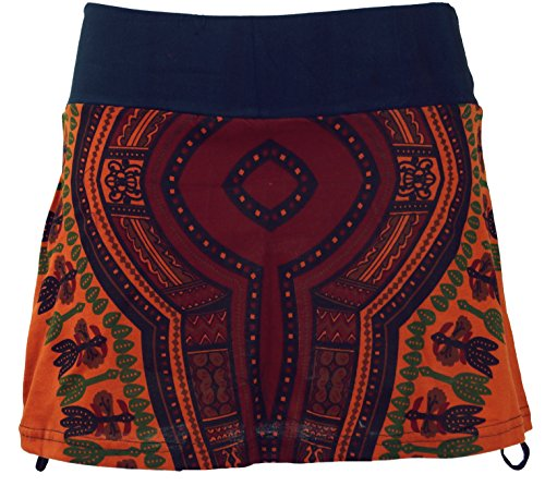 Guru-Shop Minirock, Dashiki Yogarock, Damen, Rostorange, Baumwolle, Size:36, Röcke/Kurz Alternative Bekleidung