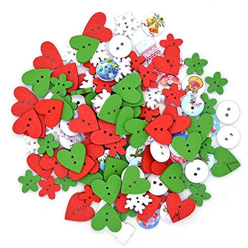 XYDZ 200PCS Botones Madera Navidad, Mezclados con 2 Agujeros Costura Manualidades DIY Scrapbooking Bricolaje Artesanía Decoración Forma de botón para coser Navidad Hacer Manualidades Adornos(80g)