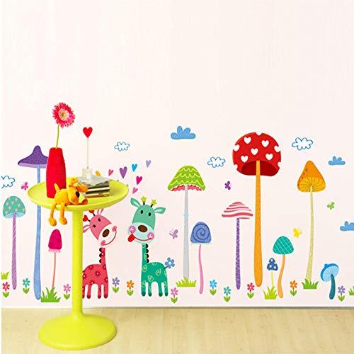 Cartoon mushroom forest home decor wall sticker children s room DIY mushroom family fawn removable wardrobe flowers grass decals
