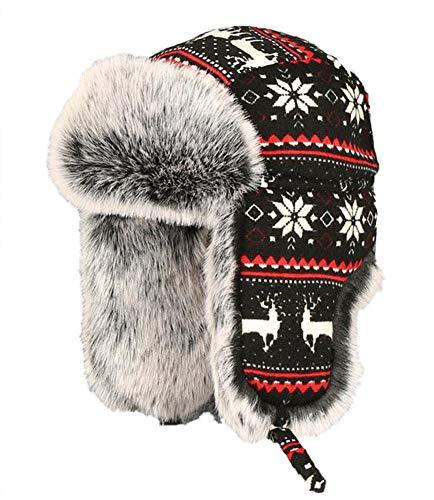 Insun Insun Unisex Wintermütze Gestrickt Fliegermütze Pilotenmütze Russenmütze Ohrenschützer Schwarz 2 XL (Hut Umfang:62cm)
