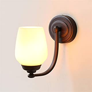 SMLZV UK American Countryside Bedside Lamps Creative Bedroom Simple Aisle Double Headed Glass Wall Lamp