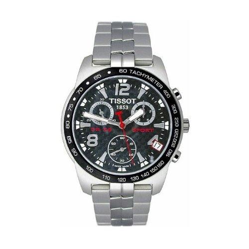Tissot T34178852 - Reloj cronógrafo de caballero de cuarzo con correa de acero inoxidable plateada