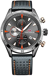 Mini Focus Mens Quartz Watch, Chronograph Display and Leather Strap - MF0011G.02
