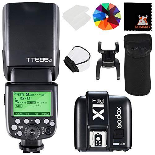 GODOX TT685C TTL Cámara Flash con X1T-C Disparador 2.4G 1 / 8000s HSS GN60 0.1-2.6s Tiempo de Reciclaje 230 Flashes Completos de Potencia para Canon Cámaras EOS 650D 600D 550D 500D 5D Mark II