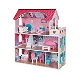 Pidoko Kids Wooden Dollhouse - 12 Pcs Furniture Accessories