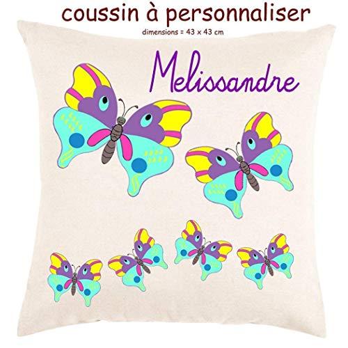 Coussin avec sa Housse Toucher très Doux Papillon Personnalisable avec un Prénom Exemple Mélissandre