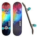 HBHHYRT 31×8Inch Skateboard Planches À roulettes pour Débutants 7 Couches Maple Double Kick Concave Standard Skateboards Aux Enfants, Adultes, Débutants, Professionnels