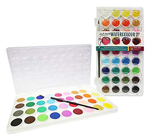 MONT MARTE Acuarelas - 36 Colores brillantes - Alta pigmentación - Incluyendo pincel de pintura - Ideal para pintura Acuarela - Perfecto para Principiantes, Profesionales y Artistas