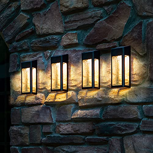 LUTEC 4 Packs 3700K 3.6LM LED Outdoor Wall Lights with Classic Bubble Glass Solar Powered, Decking & Patio Decor Lantern with Charming Light