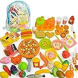 JoyGrow Alimentos de Juguete Cortar Frutas Verduras,70 Piezas Accesorios de Cocina,Diferentes Paises Juego de Comida,Juego de rol Infantil de Imitación,Educación Juegos para Nino Traer Mochila