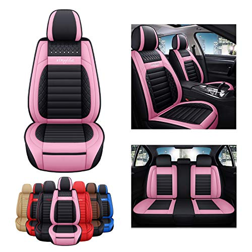 SOGLOTY Car Seat Covers Faux Leather Auto Vehicle Front Back Seat Cushion Cover Protector for Cars SUV Pick-up Truck Universal Full Set for Auto Interior Accessories (Front Rear, Pink)