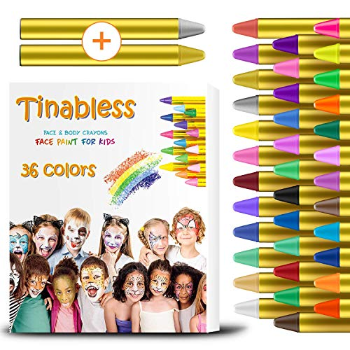 muscccm Face Paint Crayons Kit, 36 Colors Non-Toxic Makeup Crayons Kit Kids Face Paint Sticks Body Paint Crayons for Christmas ,Thanks Given , Birthday Party, Cosplay