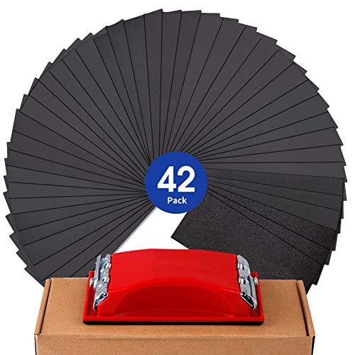 "Sandpaper Assortment Girt 120 to 3000 Sand Paper with Sanding Block Sander, Wet Dry Variety Pack Abrasive Sandpapers for Wood Automotive Car Furniture Metal Polishing Finishing, 9х3.6"", 42 Sheets"