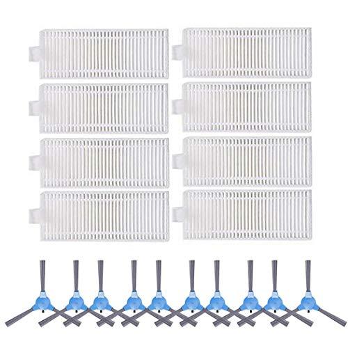 PUHE Staubsauger Ersatzteile 20 Teile/satzfilter Seitenbürste Ersatzsatz für TESvor V300 ORFELD X503 Ziglint D5 Roboter Staubsaugerteile Staubsaugerzubehör