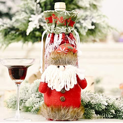 DMAIP Bolsa De Vino De Corteza De Imitación De Punto Conjunto De Botella De Vino De Navidad Muñeco De Nieve Cubierta De Botella De Champán Decoración del Hogar De Navidad