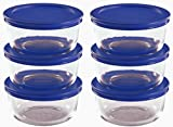 Pyrex Storage 2 Cup Round Dish, Clear with Blue Lid, 12-Piece