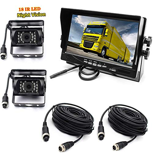"""pumpkin1: Car Reverse Camera System, 4Pin 12-24V 2x Waterproof 18-LED Night Vision Reverse Camera with 10M Aerial Cable + 7 \""""TFT LCD Car Monitor for Large Truck Bus RVs"""