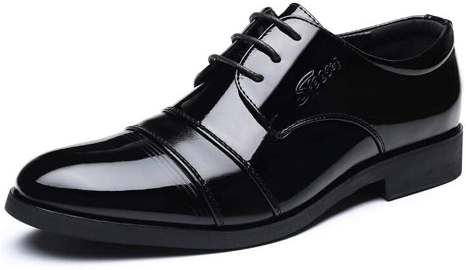 Y-H Men's Formal shoes,Spring Fall Artificial PU Lace Up Formal Business shoes, Casual Driving shoes,Wedding Night Club Party & Evening,Black,40