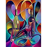 DIY 5D Diamond Painting Kit for Adults Botella de vino abstracta 40x50cm Small Full Diamond Embroidery Pasted Crystal Rhinestone Cross Stitch Handmade Puzzle Mosaic Art Craft Home Wall Decor Gift L879