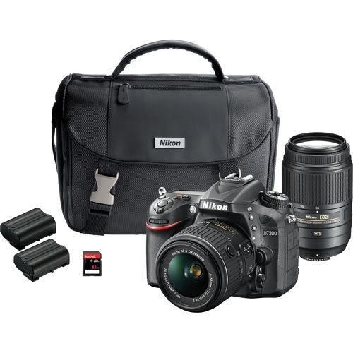 Nikon D7200 DX-format DSLR Dual Lens Wifi Camera OUTFIT - 24.2 megapixel D7200 DSLR Camera, AF-S DX Nikkor 18-55mm f/3.5-5.6G VR, AF-S DX nikkor 55-300mm F/4.5-5.6G ED VR, System Case, 2 EN-EL15 REchargebale Li-ion Batteries, 32GB Ckass 10 SD Memory Card