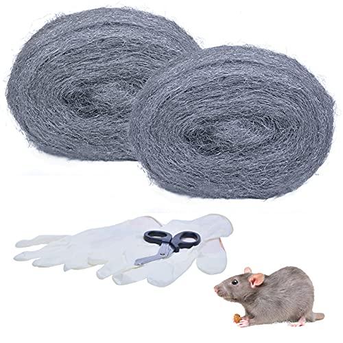 PICK FOR LIFE 2 Stück Stahlwolle Gegen Mäuse Stahl Wolle Fein Gegen Nagetiere Steel Wool Mausefalle mit Installieren Werkzeug Füllt Löcher und Wand Risse für Haus, Garage,Garten