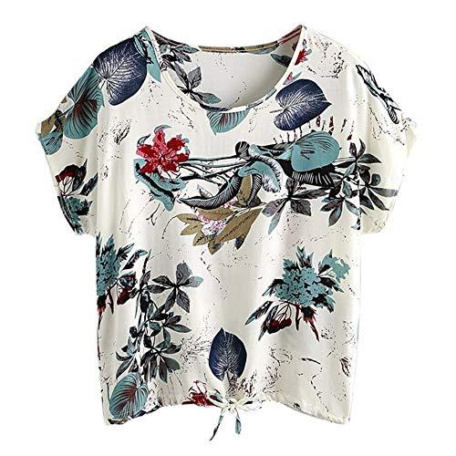 Frauen T-Shirt mit V-Ausschnitt Kordelzug Kurzarm Krawattendruck Fashion Shirt