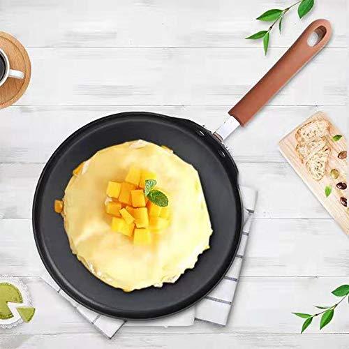 RENXR Steak Pizza Pan, Crêpe Pfanne, Non-Stick Bratpfanne, Für Nougat Schneeflocke, Kuchenschicht, Haus Pfannkuchen, Obst Omelette,Orange,24cm