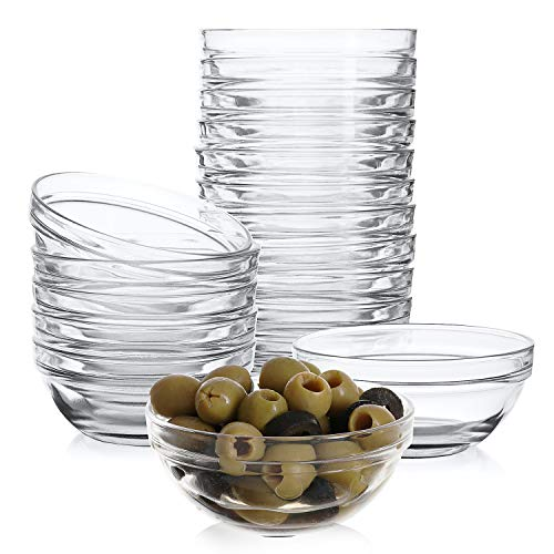 Mini 3.5 Inch Glass Bowls for Kitchen Prep, Dessert, Dips, and Candy Dishes or Nut Bowls, Set of 18