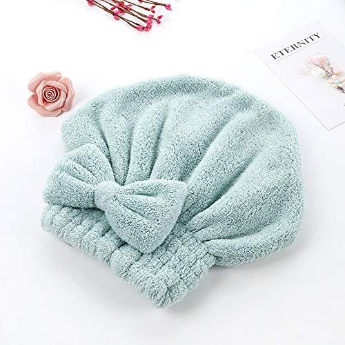 Gorra de cabello seco con lazo de secado rápido gorro de ducha, gorro de baño de microfibra, toalla envuelta para mujeres y niñas, gorro de baño con capucha (color: verde)