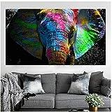 YANGDINGYAO Leinwand Malerei Bunte afrikanische Elefant
