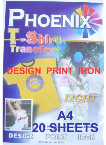 Transferpapier (für T-Shirts, zum Aufbügeln, A4, für helle Stoffe) 20 Blatt