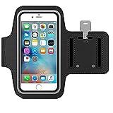 MMOBIEL Brazalete/Pulsera Deportiva Compatible con iPhone 12 Mini/SE 2020/8/ 7/6(S) - 5.5 Pulgadas (Negra) Resistente al Agua. Hecho de Suave Neopreno Ultra Ligero Tira reflejante