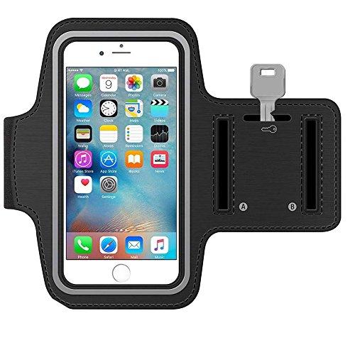 MMOBIEL Sportband Armband für iPhone 11 Pro/XS/X / 8/7 / 6S / 6-4,7 Inch (Schwarz) Schlüsselhalterung wasserfest Qualitätsprodukt Soft Neopren Material Stretch mit reflektierendem Rand verstellbar
