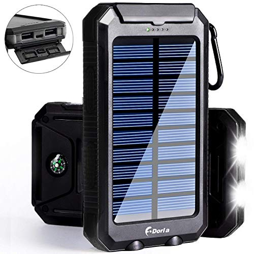 Solar Power Bank, F.DORLA Camping Solar Phone Charger 10000mAh Dual USB External Travelling Battery Pack with LED Lights Solar Panel Charging for Cellphone