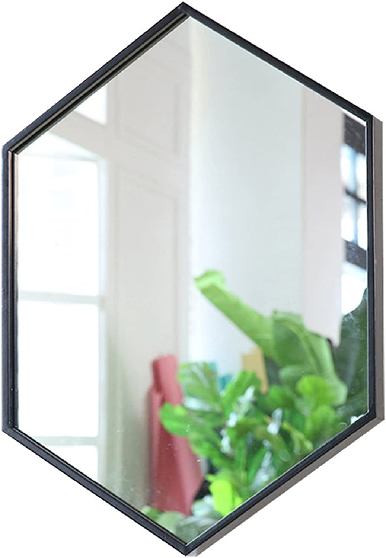 Lxn Simple Nordic Wrought Iron Wall Mounted Bathroom Mirror Bathroom Round Mirror Hanging Mirror Creative (color   Black, Size   40  60CM)