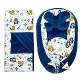 Reductor Cuna Bebe - Nido Bebe Recien Nacido Tela de algodón y vellón Set 5 Piezas (Terciopelo Azul Oscuro Set 5 Piezas, 90x50 cm)