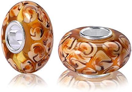 Materia 926 - Cuentas de cristal de Murano de plata 925, colgante de cristal marrón caramelo para pulseras y cadenas