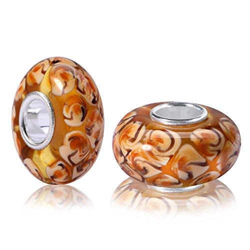 MATERIA 925 Silber Muranoglas Beads TOFFEE - Glas Anhänger braun karamell für Beads Armband/Kette #926