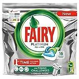Fairy Platinum 16 Caps naranja detergente para lavavajillas, paquete de 16 pastillas