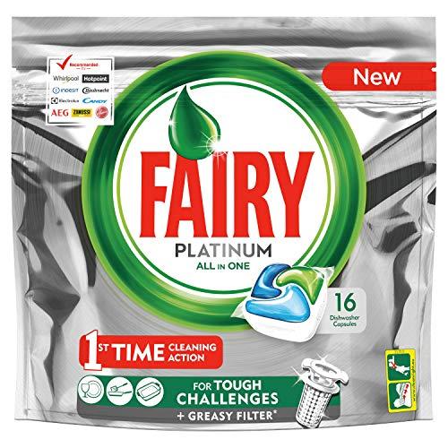 Fairy Platinum Detersivo In Pastiglie per Lavastoviglie, Confezione da 16 Caps