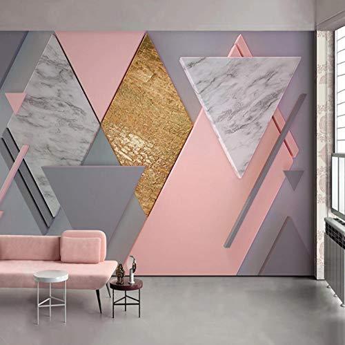 Papel Pintado Geometría De Rombo Rosa Nórdico 300X210Cm Tipo Fleece No-Trenzado Salón Dormitorio Despacho Pasillo Decoración Murales Decoración De Paredes Moderna