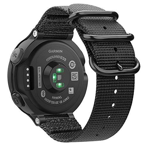 Fintie Armband kompatibel mit Garmin Forerunner 235/220 / 230/620 / 630 / 735XT Smart Watch - Nylon Uhrenarmband Sport Armband verstellbares Ersatzband mit Edelstahlschnallen, Schwarz