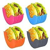welltop Burger Holder, 4 Pack Reusable Hamburger Bun Shell Expandable Mess-Free Fixed Box Silicone Sauce Rack Holder for Car, Alternative to Wax Paper Aluminum Foil Tin Foil Sheets, Dishwasher Safe